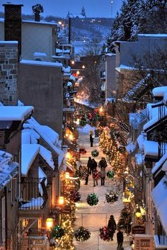 I love these back street, snowy, Christmas views