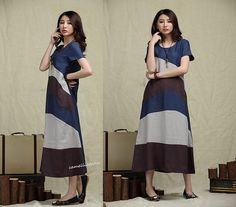 Linen Contrast Color Long Dress in Blue/ Maxi by camelliatune, $89.00