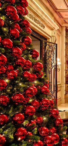 Red Christmas Decor Ideas to Enliven and Holiday Spirit Decorations Christmas, Creative Christmas Trees, Beautiful Christmas Trees, Elegant Christmas, Red And Gold Christmas Tree, Noel Christmas, Christmas Colors, Xmas, Red Christmas Lights
