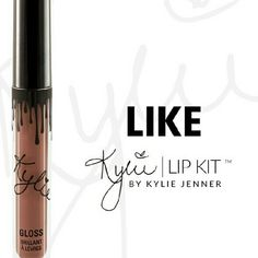 Kylie Cosmetics -- Like Lip Gloss One Kylie Cosmetics Lip Gloss Lip Kit in the color Like. This lip kit is brand new, never opened. The lip kit includes one lip gloss. [NO TRADES]  Kylie Cosmetics purchases will be shipped in the original packaging (box and card) if you purchase 3, or more, Kylie Cosmetics products at the same time. Kylie Cosmetics Makeup Lip Balm & Gloss