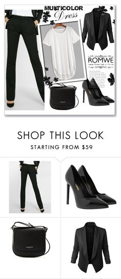"""""""Black and white !"""" by slay-queen38 ❤ liked on Polyvore featuring Express, Yves Saint Laurent, Lancaster and Jupe de Abby"""