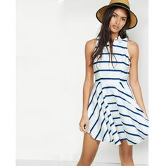 Express Striped Sleeveless Fit And Flare Shirt Dress ($75) ❤ liked on Polyvore featuring dresses, blue, fit flare dress, mini dress, express dresses, white fit and flare dress and striped mini dress