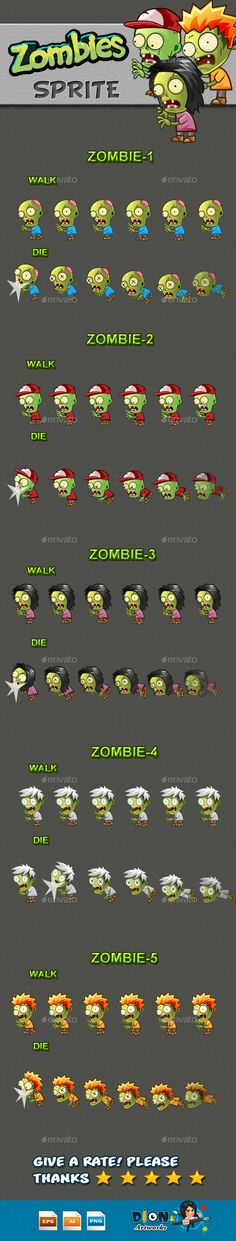 Zombies Sprite Sheets Download here: https://graphicriver.net/item/zombies-sprite-sheets/10133545?ref=KlitVogli