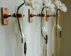 Glass Flower Pendant ice wine bottles stem holders or oil candles wall decor home decor flower vase
