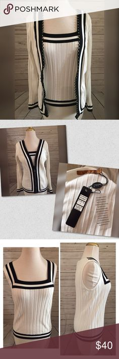 BNWT size L belldini tank and cardigan SET BNWT size L belldini tank and cardigan set.  Diamond accents adorn the cardigan on the zipper part. Please let me know if you have any questions 👍❤️😉 always open to offers ✅ Belldini Tops