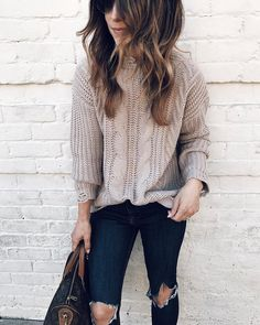 #fall #outfits warm beige sweater ripped jeans