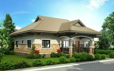 Pinoy House Design 2015002 is a one storey house design with a floor area of 148 m². An elegant entry enhances an inviting front porch on this traditional design. Single Storey House Plans, One Storey House, Modern Bungalow House Design, Bungalow House Plans, Bungalows, Philippines House Design, Philippine Houses, Three Bedroom House Plan, Beautiful House Plans