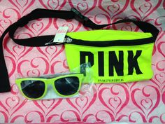 BNWT Victoria's Secret Pink Fanny Pack Sunglasses Set NEON YELLOW SPRINGBREAK #VictoriasSecret #Fannypack