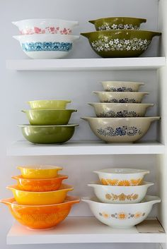 Stacks of pretty Pyrex!    super boner - totally reminds me of mom <3
