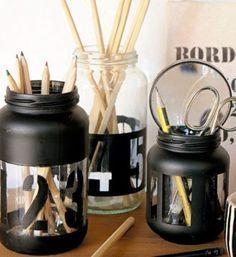 New diy desk organization for teens organizers mason jars Ideas Bottles And Jars, Glass Jars, Mason Jars, Desk Organization Diy, Diy Desk, Black And White Office, Kitchen Jars, Creation Deco, Craft Sale