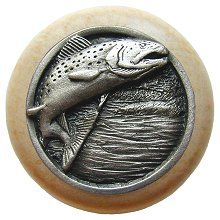 Notting Hill - Leaping Trout Wood Knob in Antique Pewter/Natural wood finish