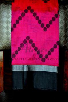 Hot Pink Kuppadam Saree with Ikat Zig Zag pattern with black balls & Black/silver zari border - Aliveni  - 1