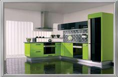 Awesome Minimalist Green Kitchen Home Interior Design Ideas - Interior Design Lime Green Kitchen, Green Kitchen Designs, Best Kitchen Colors, Green Kitchen Cabinets, Kitchen Cabinet Colors, Modern Kitchen Design, Interior Design Kitchen, Home Design, Kitchen Paint