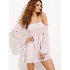 Off Shoulder Lace Contrast Bell Sleeve Shirred Dress