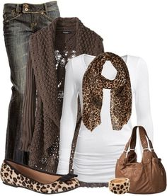 Leopard+print+scarf+outfit+for+fall. Usually I stick with just one piece of this print in an outfit, but I'm diggin this. Cute Winter Outfits, Fall Outfits, Casual Outfits, Summer Outfits, Casual Wear, Summer Dresses, Mode Outfits, Fashion Outfits, Womens Fashion