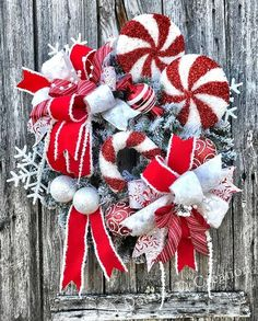 Flocked Christmas Wreath, Christmas Wreath for Front Door, Christmas Wreath, Red and White Elegant Christmas Wreath, Evergreen Candy Wreath This gorgeous flocked evergreen wreath is the perfect Christmas wreath for your door Constructed on a 24 flocked evergreen base. There are 3