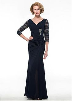 Fabulous Chiffon V-neck Neckline Mermaid Mother Of The Bride Dress With Beadings