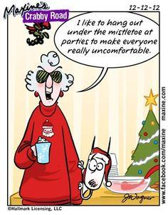 Really uncomfortable under the mistletoe ...