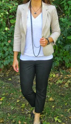 work outfit :: neutral blazer, white tee, black ankle pants