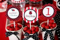 Items Similar To Ladybug Invitation Invite Birthday Party Photo Lady Bug Cupcake Toppers L1 On