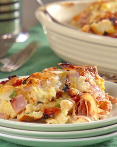 Ham and cheddar strata- made this today and loved it! I used chopped up french bread and lined the bottom of the pan with ham. I also used less eggs (7) and more milke (3 c), and added a tsp of fresh thyme. Delicious and perfect to make the night before for an easy breakfast.