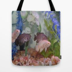 #Fish - Two Black and Two White Oscars in an #Aquarium Tote Bag by Celeste Sheffey - $22.00