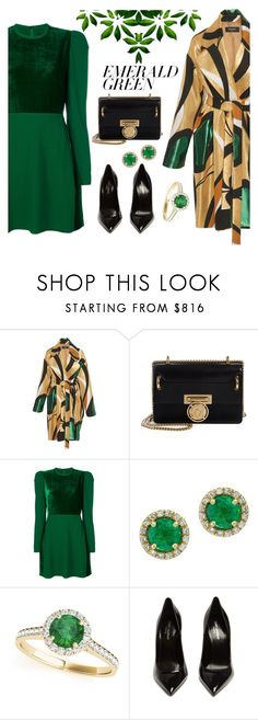 """Untitled #1019"" by m-jelic ❤ liked on Polyvore featuring Balmain, Elie Saab, Effy Jewelry, Allurez, Yves Saint Laurent and emeraldgreen"