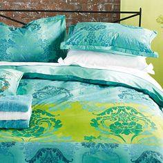 Designers Guild - Kashgar Jade Bedlinen   Designers Guild UK  #Designersguild #Dreambedroom