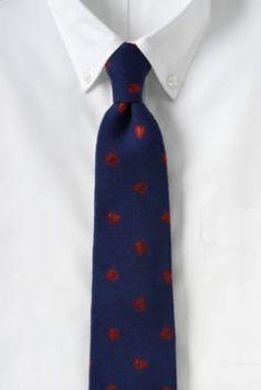 Men's Silk Wool Herringbone Leaf Necktie from Lands' End