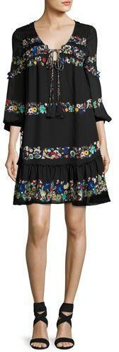 Derek Lam 10 Crosby Floral-Stripe Silk Mini Dress, Black