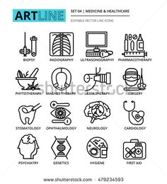 Modern editable line vector illustration, set of medicine and healthcare icons…