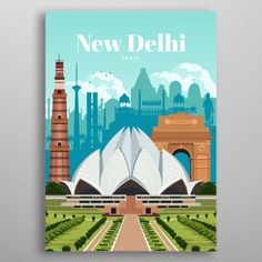Poster made out of metal. Digital illustration of New Delhi's skyline and heritage architecture. See all of Delhi's landmarks, India Gate, Qutb Minar & Lotus Temple Digital India Posters, Monument In India, Wall Prints, Poster Prints, Delhi Tourism, Temple Drawing, Lotus Temple, India Gate, Tourism Poster