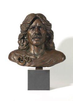 #Bronze #sculpture by #sculptor Laura Lian titled: 'George Harrison (Bronze Bust/Face/Head Portrait sculpture or statue)'. #LauraLian