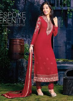 Authentic beauty comes out from your dressing trend with this glorious alluring red resham work georgette salwar kameez . The ethnic embroidered and zari work with the apparel adds a sign of attractiv...