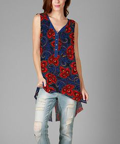 Love this Blue & Red Floral Hi-Low Tunic on #zulily! #zulilyfinds