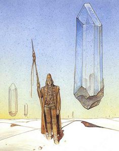 Illustration by Moebius (Jean Giraud) Art And Illustration, Character Illustration, Arte Sci Fi, Sci Fi Art, Fantasy Comics, Fantasy Art, Jean Giraud Moebius, Art Science Fiction, Comics