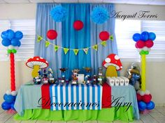 Los Pitufos Birthday Party Ideas | Photo 2 of 9 | Catch My Party Unicorn Birthday Parties, Birthday Party Themes, Baby Boy Christening, Party Themes For Boys, Baby Party, Party Planning, Decoration, Party Ideas, Smurfette