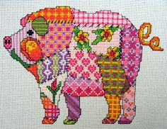 Patchwork Pig Cross Stitch Pattern. Instant PDF download Design uses whole stitch and backstitch only. Specifies DMC threads. Size is approx 7.2inches wide x 5.1 inches high on 14 count fabric. Full Copyright is retained by the seller.