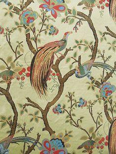 Vintage Plumes Jade Floral Printed Drapery Fabric By