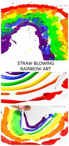 Arty Crafty Kids | Art Art Ideas for Kids | Straw Blowing Rainbow Art | Straw blowing to make rainbow art is a fun and creative process your kids with LOVE! #processart #kidsart #rainbows