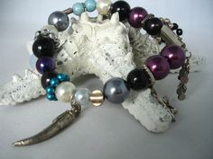 Glass Bead Charm Bracelet- Multicolored- Blue, Purple, Gray, White - Glass & Metal Beads - Elastic- Gift Idea - Fashion Jewelry - Charms