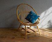 Chair shell rattan retro vintage 60s Bohemian antic rattan armchair bohemian deco french furniture workshop ages