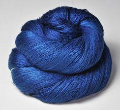 Ground sapphire  Silk Fine Lace Yarn by DyeForYarn on Etsy