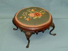 Antique 1900s Early Needlepoint Foot Stool Wood Victorian Carved Acorns ottoman