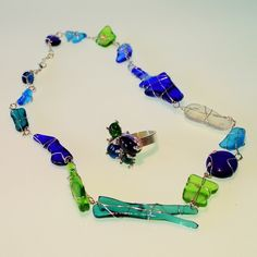 WATER. Ring and necklace. Fused glass and silver.