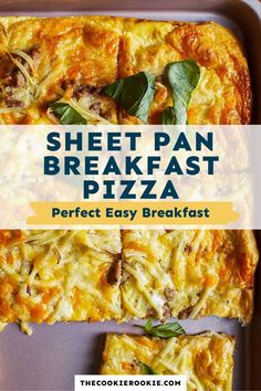 Sheet Pan Breakfast Pizza is a favorite easy breakfast recipe! From the crescent roll crust to the eggs and cheese and everything in between, this pizza is filling and so easy to make! #thecookierookie #breakfast #pizza Breakfast Slider, Breakfast Pizza, Breakfast Dishes, Breakfast Ideas, Camping Breakfast, Brunch Ideas, Delicious Breakfast Recipes, Brunch Recipes, Easy Large Group Meals