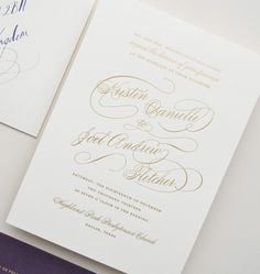 Gold and Eggplant Wedding Invitation Suite by chipsandsalsadesigns