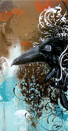 "Crows Ravens: ~ ""Prayer Telegrams,"" by Blaine Fontana. Illustrations, Illustration Art, Tarot, Quoth The Raven, Raven Art, Jackdaw, Crows Ravens, Rabe, All Birds"