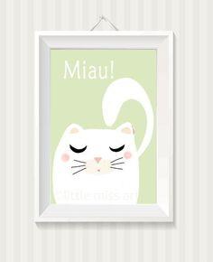 Kinderbild, Bild Kinderzimmer,Poster,Bild Katzl von *little miss arty* - illustrationen auf DaWanda.com
