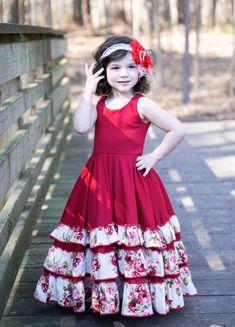 Alejandra's Ruffled Maxi Dress Sizes to 8 Girls PDF Pattern Kids Maxi Dresses, Girls Dresses Sewing, Kids Dress Wear, Kids Gown, Little Girl Dresses, Cute Baby Dresses, Pageant Dresses, Party Dresses, Girls Frock Design